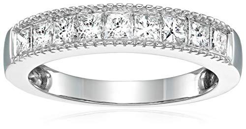 1 cttw Princess Cut Milgrain Diamond Wedding Band 14K White Gold Size 7