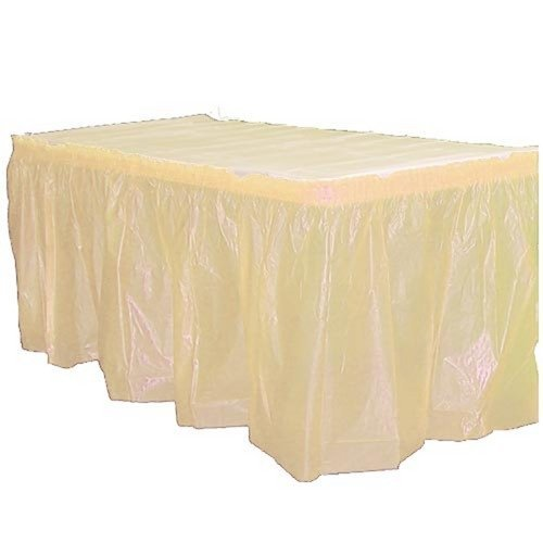 Exquisite Solid Color 14 Ft. Plastic Tablecloth Skirt, Disposable Plastic Tableskirts - Ivory - 6 Count (Table Ivory Plastic Cover)