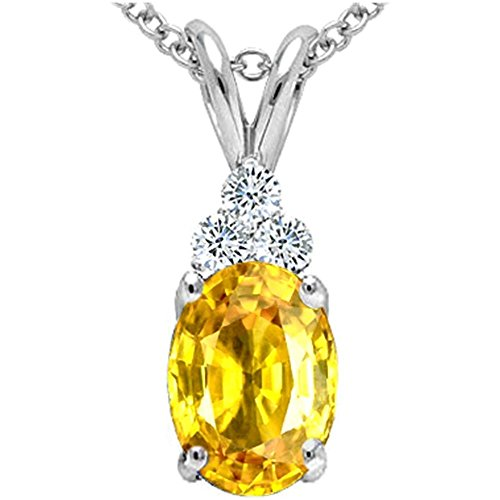 Tommaso Design Oval Genuine Yellow Orange Sapphire Pendant Necklace (Orange Sapphire Necklace)