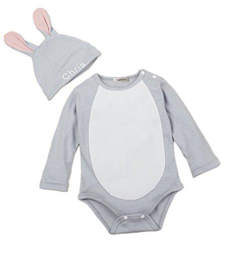stylesilove Baby Unisex Cartoon 2-pc Costume Jumpsuit and Hat (80/6-12 Months, Eeyore) ()