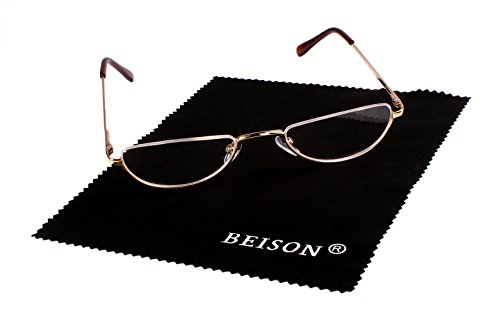 Beison Half Moon Readers Half Rimless Reading Glasses (Gold, - Glasses Half Moon