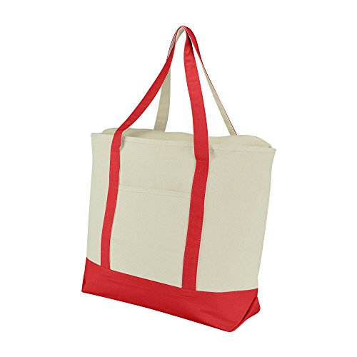 "DALIX 20"" Large Cotton Canvas Zippered Shopping Tote Grocery"