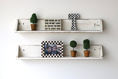 White Floating Shelves Distressed Paint Effects