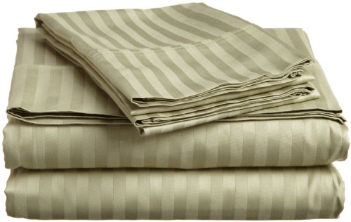 European Comfort Luxury Soft Wrinkle Resistant Striped QUEEN Sheet Set, SAGE GREEN