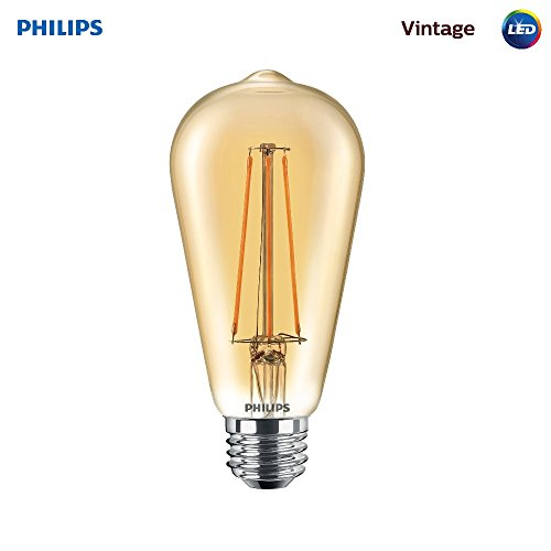 Philips LED Amber Glass ST19 Dimmable Vintage Filament Light Bulb: 350-Lumen, 2000 Kelvin, 4.5-Watt (40-Watt Equivalent) E26 Base, Amber, 1-Pack