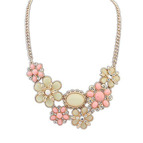 (The Starry Night Gold Color Six Flowers Pink Oval Crystal Stone Charming Necklace Suitable Females)