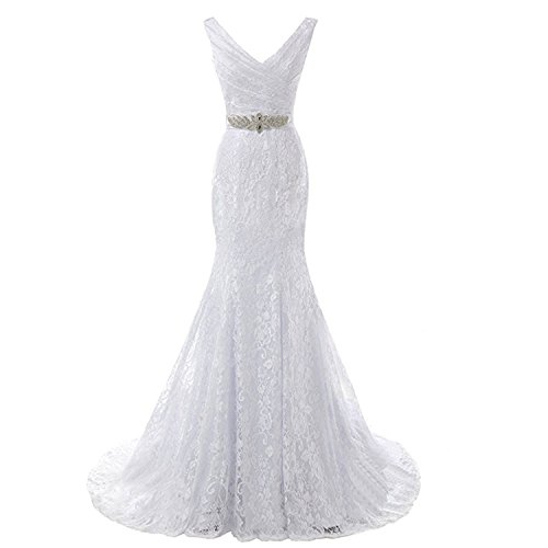 (Victoria Prom Double Shoulders V-Neck Beaded Pleat Lace Wedding Dress Mermaid Bridal Gown with Sash Ivory US12)