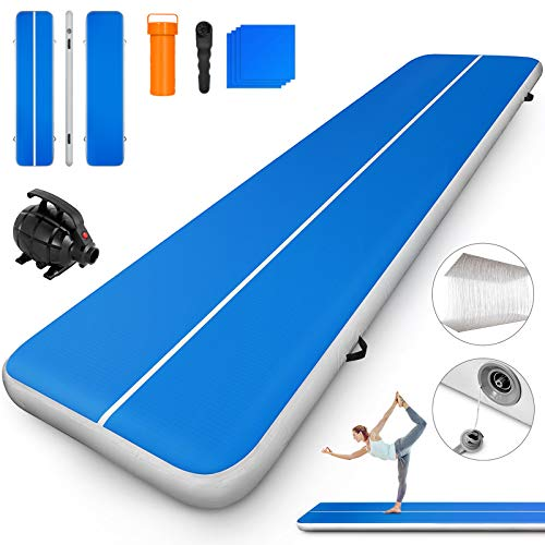 Happybuy 10ft 13ft 16ft 20ft 23ft 26ft 30ft Air Track 8 inches Airtrack 4 inches Inflatable Air Track Tumbling Mat for Gymnastics Martial Arts Cheerleading Tumble Track with Pump Blue ()