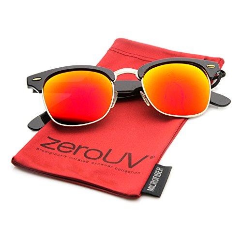 Black Smoke Flash Mirror Lens - zeroUV - Half Frame Semi-Rimless Horn Rimmed Sunglasses (Black-Gold/Red Mirror)