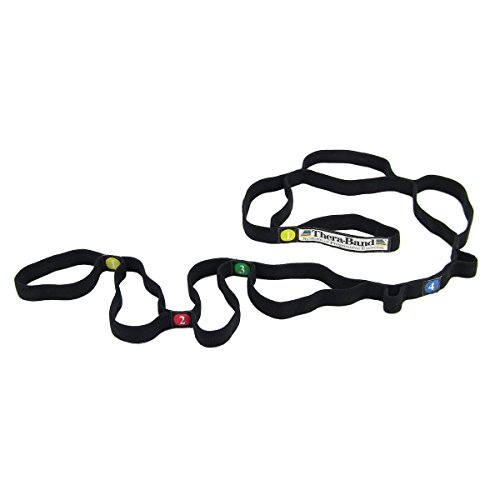 TheraBand 22300 Stretch Strap with Loops to Increase Flexibility, Dynamic Stretching Tool for Athletes Including Dancers, Cheerleaders, Gymnasts, Runners, Pilates and Yoga Elastic Stretch Out Band