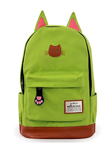 Moolecole Leather & Canvas Backpack School Bag with Cat's Ears Design Fruit Green