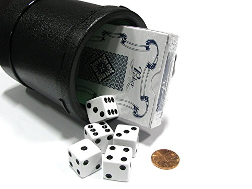 (Plastic Dice Lined Cup with Lid, Dice & Cards, Green/Black)