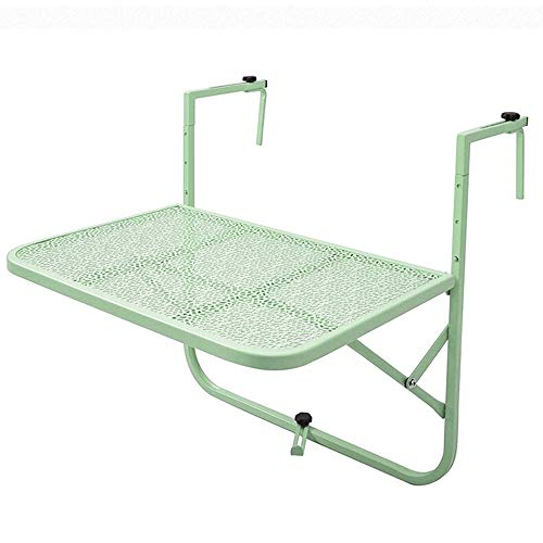 AI Folding Table, Wall Hanging Study Table Balcony Railing Hanging Table, Wrought Iron, European Style, Size (LXW) 60x50cm (Color : Green)