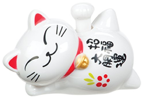 Toysmith Plastic Solar Lucky Cat Figurine with Waving Arm for Good Health & Fortune, White, 4-Inch -