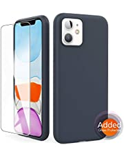 "AhaStyle Silicone Case Soft Liquid Silicone Slim Rubber Protective Case Cover [Added Screen Protector] Compatible with iPhone 11 (2019) (iPhone 11 6.1"", Midnight Blue)"