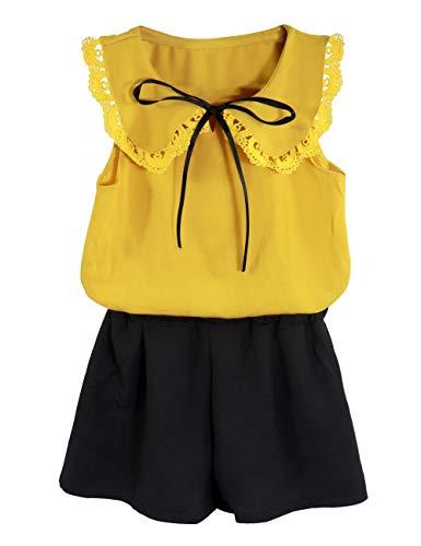 Toddler Baby Girl Outfits 2Pcs Ruffle Print T-Shirt Tops and Shorts Pants Clothes Sets 5-6 T -