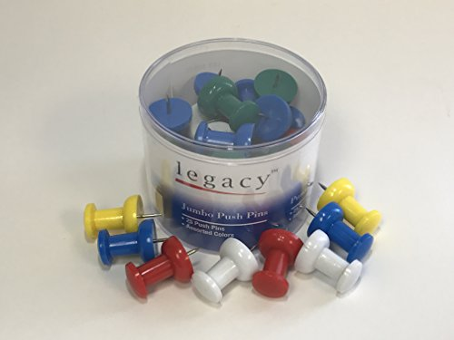 Pins Push Swingline (Legacy Jumbo Push Pins 1-3/4, Assorted Colors, Tub of 25, 60975)