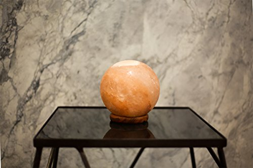 Natural Himalayan Salt Lamp Globe Hand Crafted Sphere by Ambient Authentic Natural Crystal Salt Rock with UL Listed Dimmer Switch by Ambient Salt Lamp (Image #3)