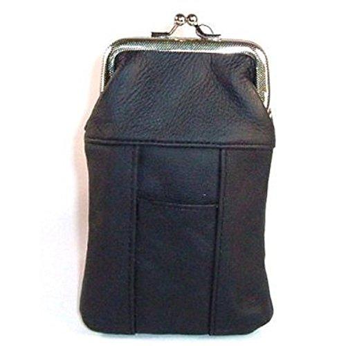 Womens Leather Cigarette Case & Lighter Holder (Black)