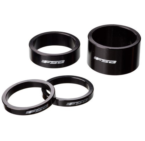 Full Speed Ahead FSA Logo Alloy Bicycle Headset Spacer Kit (Black - Qty 10 x 1-1/8in x 10mm)