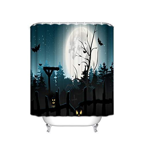 Black Bat Pumpkin Evil Smiley Wooden Fence Moon Halloween Forest Theme Waterproof Shower Room Shower Cylinder Shower Curtain - Odorless, Chlorine Free - 72