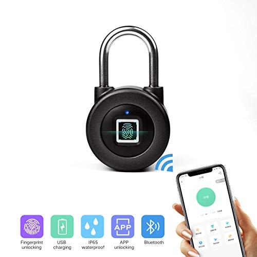 Nokelock Fingerprint Padlock,Smart Bluetooth Security Lock(Android/iOS Connection),USB Rechargeable IP65 Waterproof Padlock, Suitable for Gym lockers, suitcases, Handbags, School lockers, Black