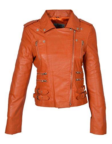 de para con y Trendy genuino estilo abrigo Girls cuero Beyonce biker mujer naranja Chaqueta cremallera A4wqRE