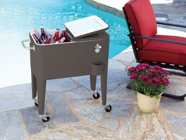 Living Accents L-bc153pst Rolling Steel Cooler, 60 Quarts, Brown