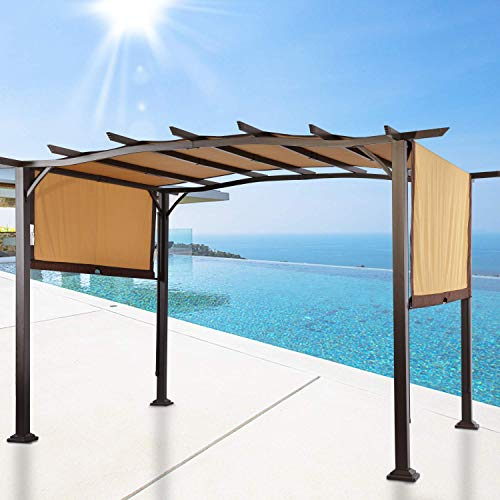 COSTWAY Pergola Outdoor Steel Frame Patio Sun Shelter Retractable Canopy Shade, As The by COSTWAY (Image #2)