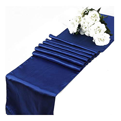 OHogar Dark Blue Table Runners Packs of 10 12×108 inches Satin Table Runner for Party,Wedding,Banquet,Birthday,Decoration,Reception,Event,Shower,Silk&Smooth Seam Edges Fabric Fit Long,Round - Runner 8 Satin