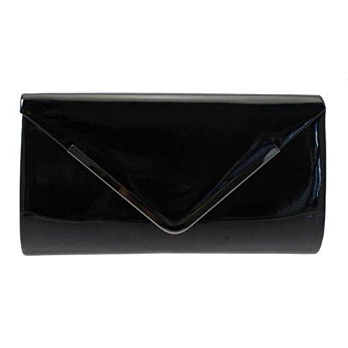 or Bronze Olive Trim Patent Clutch Page Metal Black Burgundy Navy With Black Lunar Bag WPBgF7Hw