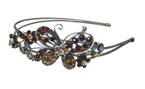 Crystal Butterfly Resilient Wire Metal Headband U86121-0124amber (Butterfly Crystal Headband)
