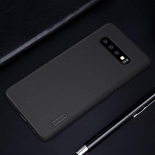 (Original Case for Samsung Galaxy S10+ S10 Plus 2019 Ultra Slim and Lightweight Great Carbon Fiber Protector and Shock Absorption Luxury Alacantara Style Cover 2019 - Black)
