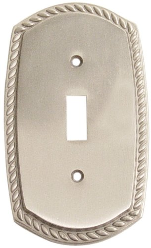 "Emtek 29211 5-1/8"" x 2-7/8"" Single Toggle Rope Style Forged Brass Switch Plate, Lifetime Polished Brass"