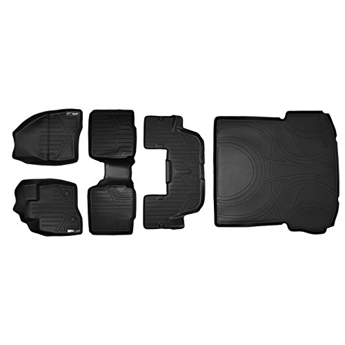 MAXFLOORMAT Floor Mats (3 Rows) and MAXTRAY Cargo Liner Set Black for 2017-2018 Ford Explorer With 2nd Row Center Console (Console Row Cargo)