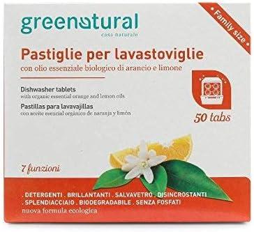 GREENATURAL - Pastillas para lavavajillas, paquete de 50 unidades ...