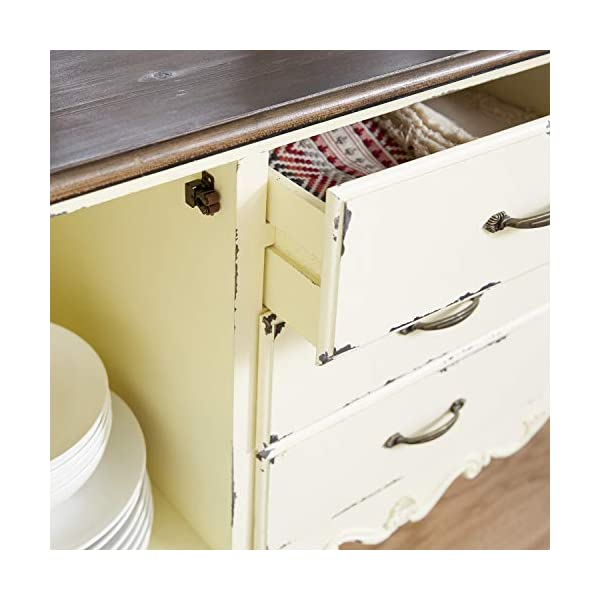 """Deco 79 Farmhouse Beige & Brown Wood Cabinet w/ 3 Drawers & 2 Cabinets, 48"""" x 33"""""""