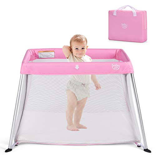 BABY JOY Baby Playpen, Ultra-Light Aluminum Portable Travel Crib with Comfy Mattress & Oxford Carry Bag, Pink (Best Playard For Sleeping)