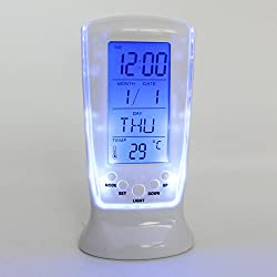 Digital Thermometer LED Alarm Clock Blue Backlight Table Alarm Clock Countdown Timer with Repeating/Sleep & Snooze Function,Calendar&Temperature Luminous Display,Birthday Reminder,Battery Operated
