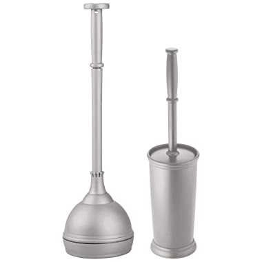 mDesign Modern Slim Compact Freestanding Plastic Toilet Bowl Brush and Plunger Combo Set with Holder for Bathroom Storage - Sturdy, Heavy Duty, Deep Cleaning - Gray