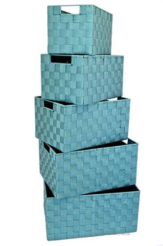 Set 5 Turquoise Nesting Durable Woven Nylon Home Storage Basket Bins