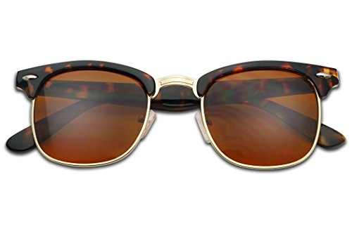 SunglassUP Classic Semi Rimless Blue Light Blocking Horn Rimmed Blocker Sunglasses (Tortoise | Gold, - Friday Kid Night Sunglasses