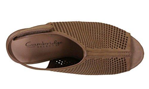 Cambridge Select Femmes Slingback Découpé Au Laser Empilé Talon Pompe Bootie Bronzage