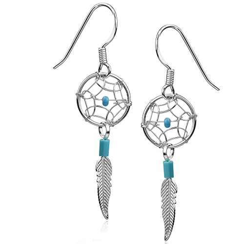 [Dream Catcher Sterling Silver Turquoise Imitation Tiny Delicate Hook Earrings] (Spider Gem Earrings Child)