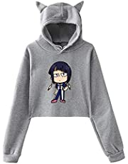 Opfans Crop Top Hoodie with My Hero Academia Earphone Jack Jiro Kyoka Anime Sweater Pullover for Girls Boku No Hero Academia
