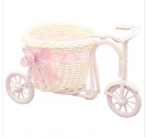 Price comparison product image New Design Hign Quality Rattan Tricycle Bike Design Flower Basket Pot Vase Plant Stand Holder Desk Bedroom Home Decoration 1 piece No.2