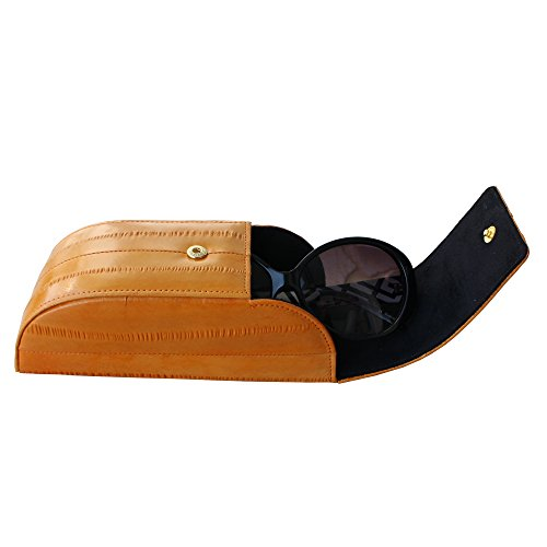Genuine Eel Skin Sunglasses Case Eyeglasses Case Hard Case Eyewear Protector Box (Dark orange)