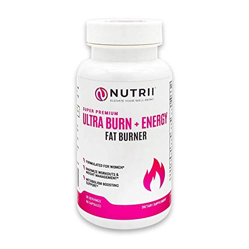 Nutrii - Ultra Burn + Energy - #1 Energy + Fat Burner, Appetite Suppressant, Mental Focus, Vegan, Weight Loss Supplement, Increase Energy/Metabolism, Green Tea, Caffeine, CLA, Diet Pill, 60 -