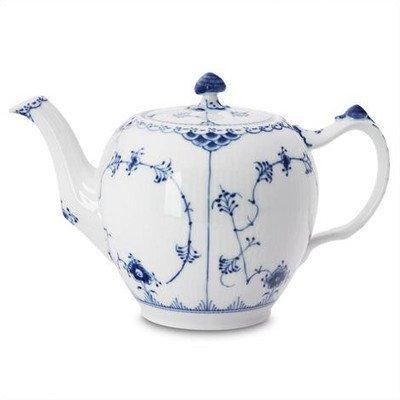 Royal Copenhagen Blue Fluted Half Lace 34 Oz Teapot Fluted Teapot