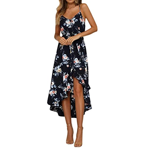 Vestido de Verano de Mujer, Dragon868 Hermosa Mujer Vacaciones Caída de Las Señoras Maxi Long Beach Vestido Floral Negro